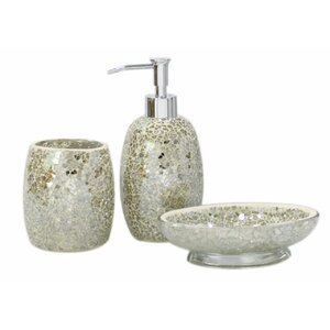 mosaic 3 piece bathroom accessory set