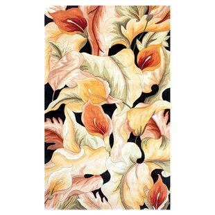 Rowan Calla Lillies Hand-Tufted Wool Black Area Rug ByBay Isle Home