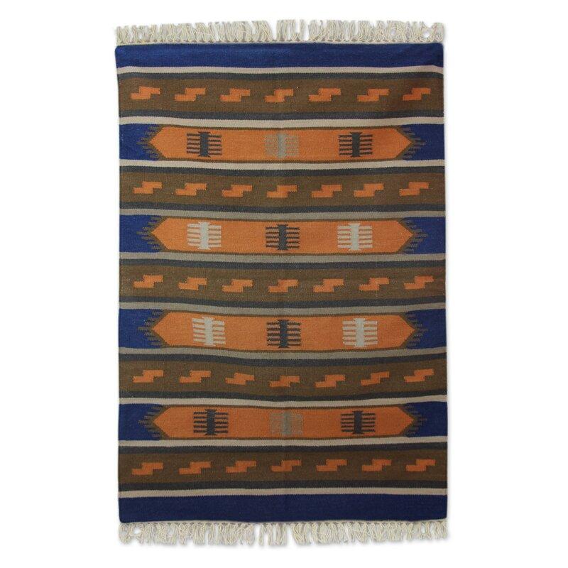 Loon Peak Mraz Dhurrie Horizon Hand Woven Wool Blue Orange Area Rug Wayfair