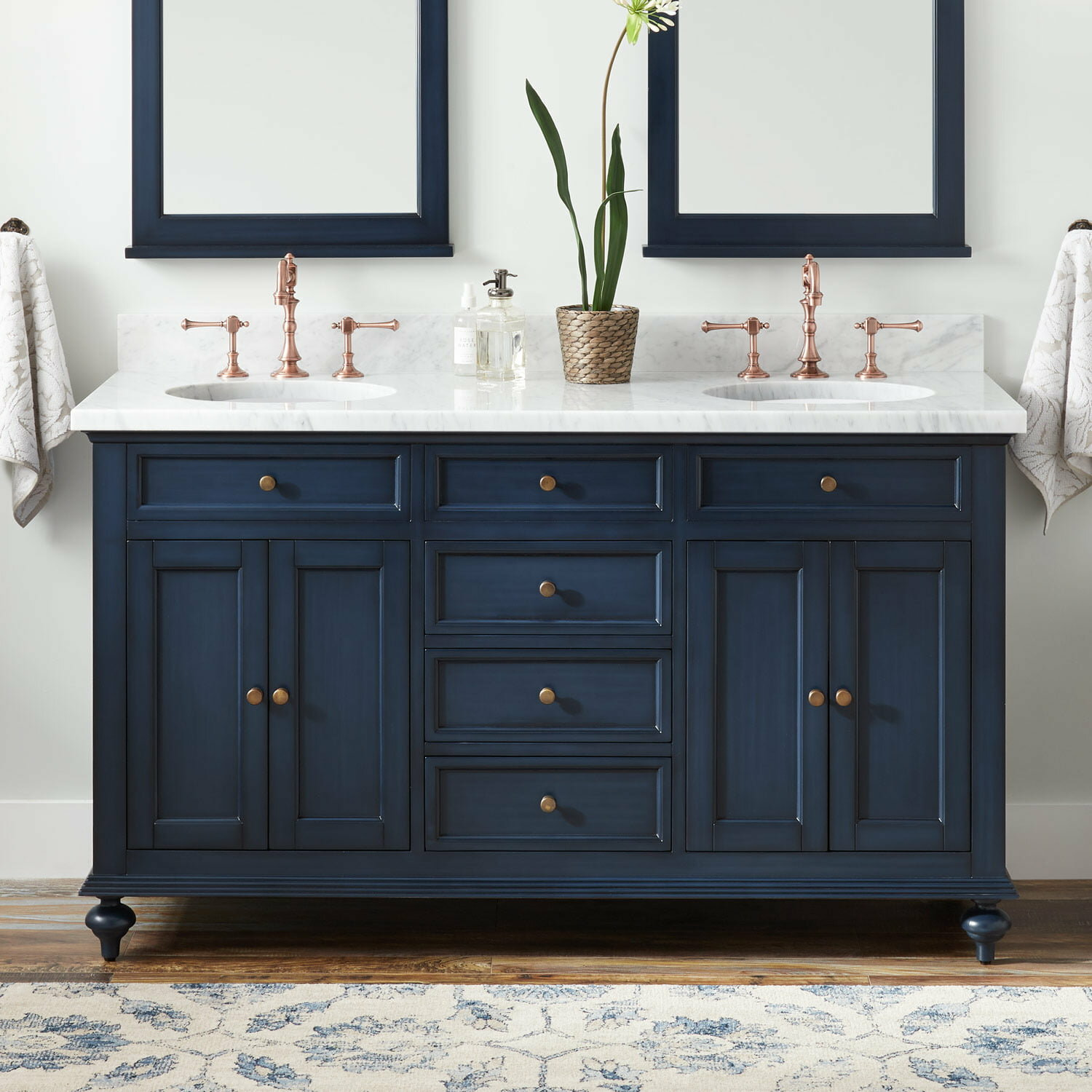 Signature Hardware Keller Marble 61 Double Bathroom Vanity Set Reviews Wayfair