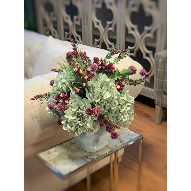 Latitude Run Hydrangea Mixed Floral Arrangement In Vase Wayfair