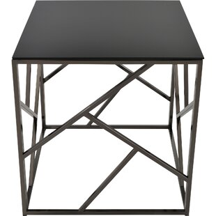 Ivy Bronx Jetta Glass and Metal End Table