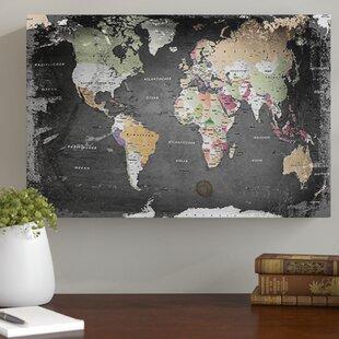 Large Canvas Map Of The World.Large Framed World Map Wayfair Co Uk