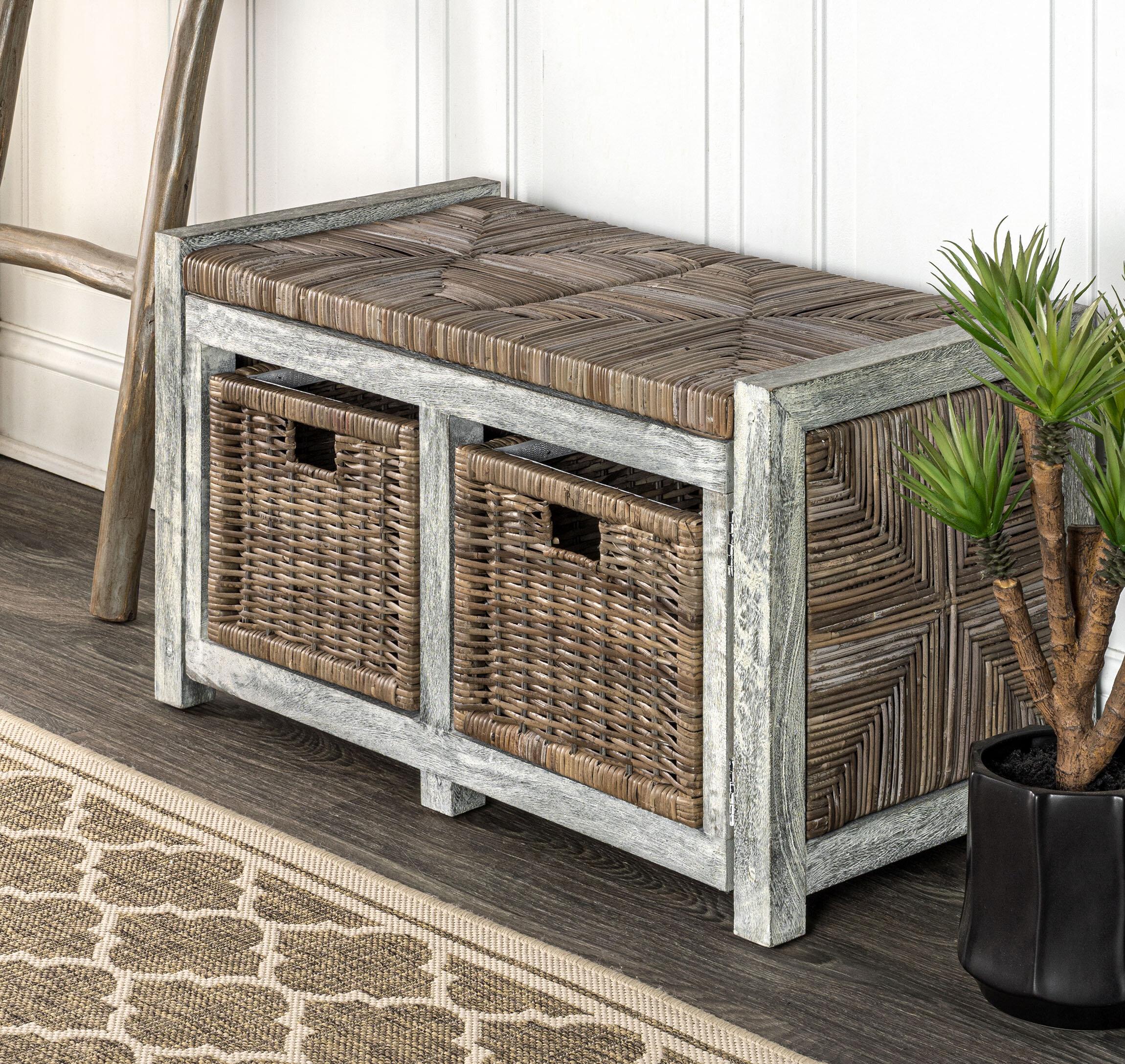 "Highland Dunes Rustic 30"" 2 Drawer Wicker Storage Bench, Gray"