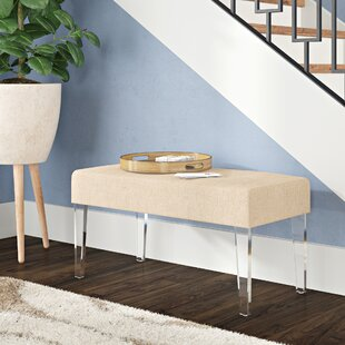Amey Acrylic Leg Rectangular Upholstered Bench