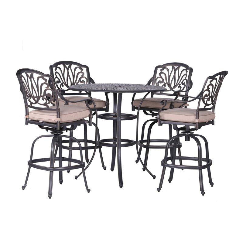 Outstanding Gunter 5 Piece Bar Height Dining Set With Sunbrella Cushions Home Interior And Landscaping Ponolsignezvosmurscom