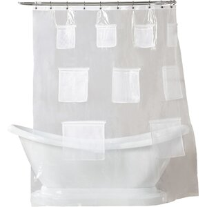 Weatherton Mesh Pockets Shower Curtain