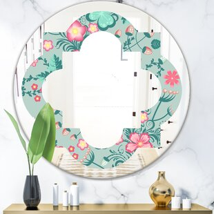 Spring Floral Pattern in Soft Pastel Colors Quatrefoil Cottage Americana Frameless Wall Mirror by East Urban Home