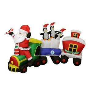 Lighted Santa Express Train Christmas Yard Art Decoration Inflatable by The Holiday Aisle