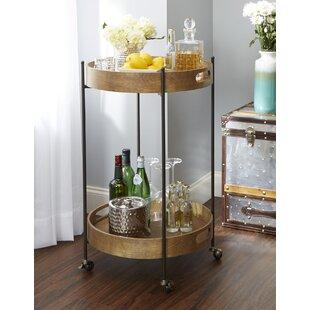Ginnie 2-Tier Round Metal Frame Bar Cart