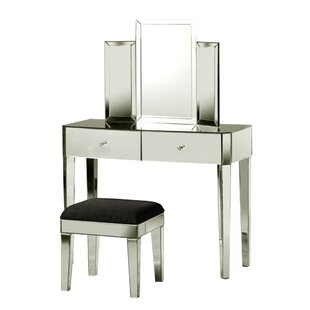 Rosdorf Park Sherborne 2 Piece Tri Fold Vanity Set with Mirror