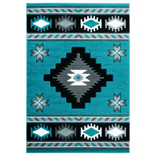 Affordable Price Sheridan Turquoise/Black/Gray Area Rug By Millwood Pines