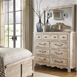 Jeffery 9 Drawer Double Dresser with Mirror