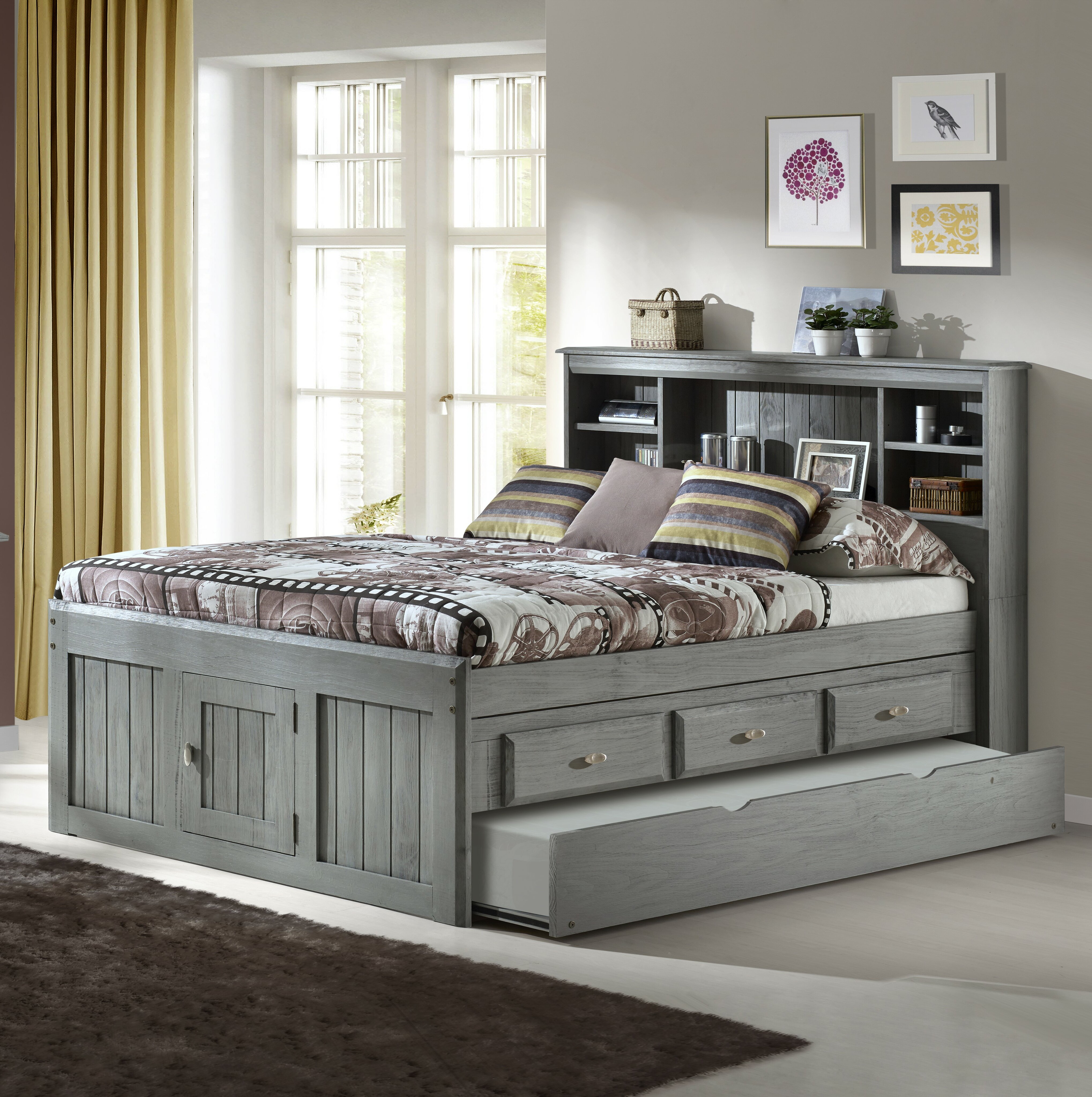 Greyleigh Norberto Panel Bed With Drawers Shelves And Trundle