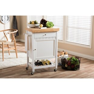 Lucrezia Kitchen Cart with Wood Top by Andover Mills