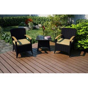 Harmonia Living Arbor 3 Piece Sunbrella Conversation Set with Cushions