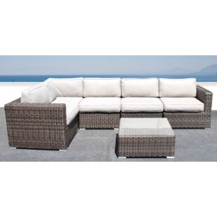 Whitmer 6 Piece Rattan Sectional Seating Group with Cushions