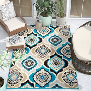 Bever Panal and Diamonds Foyer Gray/Blue Indoor/Outdoor Area Rug