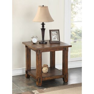 Portal Wood End Table by Three Posts