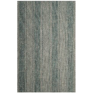 Myers Striped Light Gray/Teal Indoor/Outdoor Area Rug