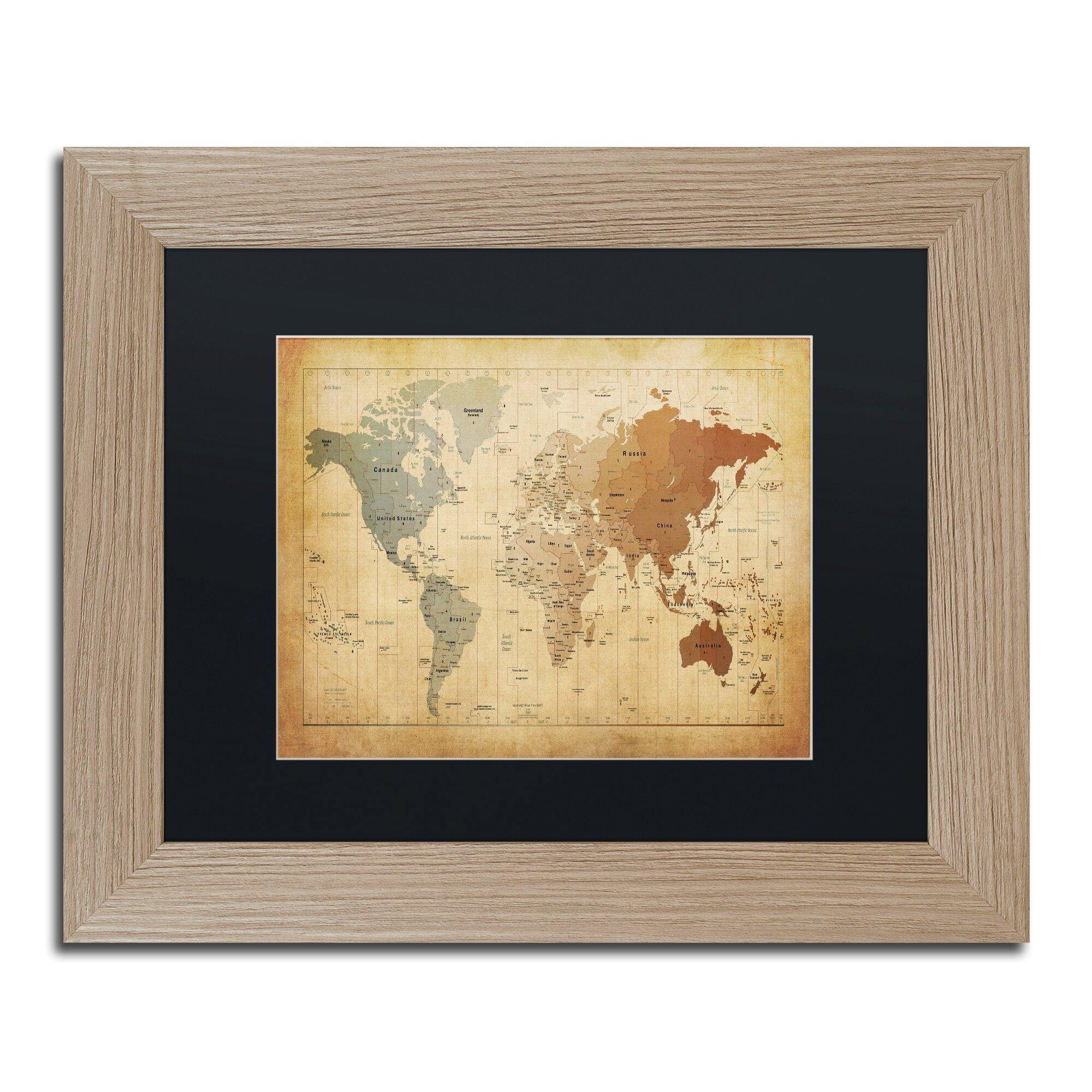 Trademark Art Time Zones Map of the World by Michael Tompsett Framed ...
