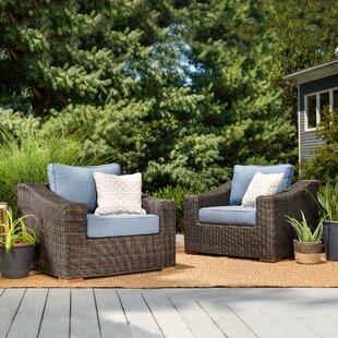 New Boston Teak Patio Chair with Sunbrella Cushion (Set of 2)