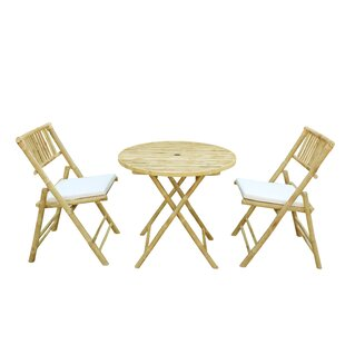 Bay Isle Home Woodcroft Bamboo 3 Piece Bistro Set with Cushions