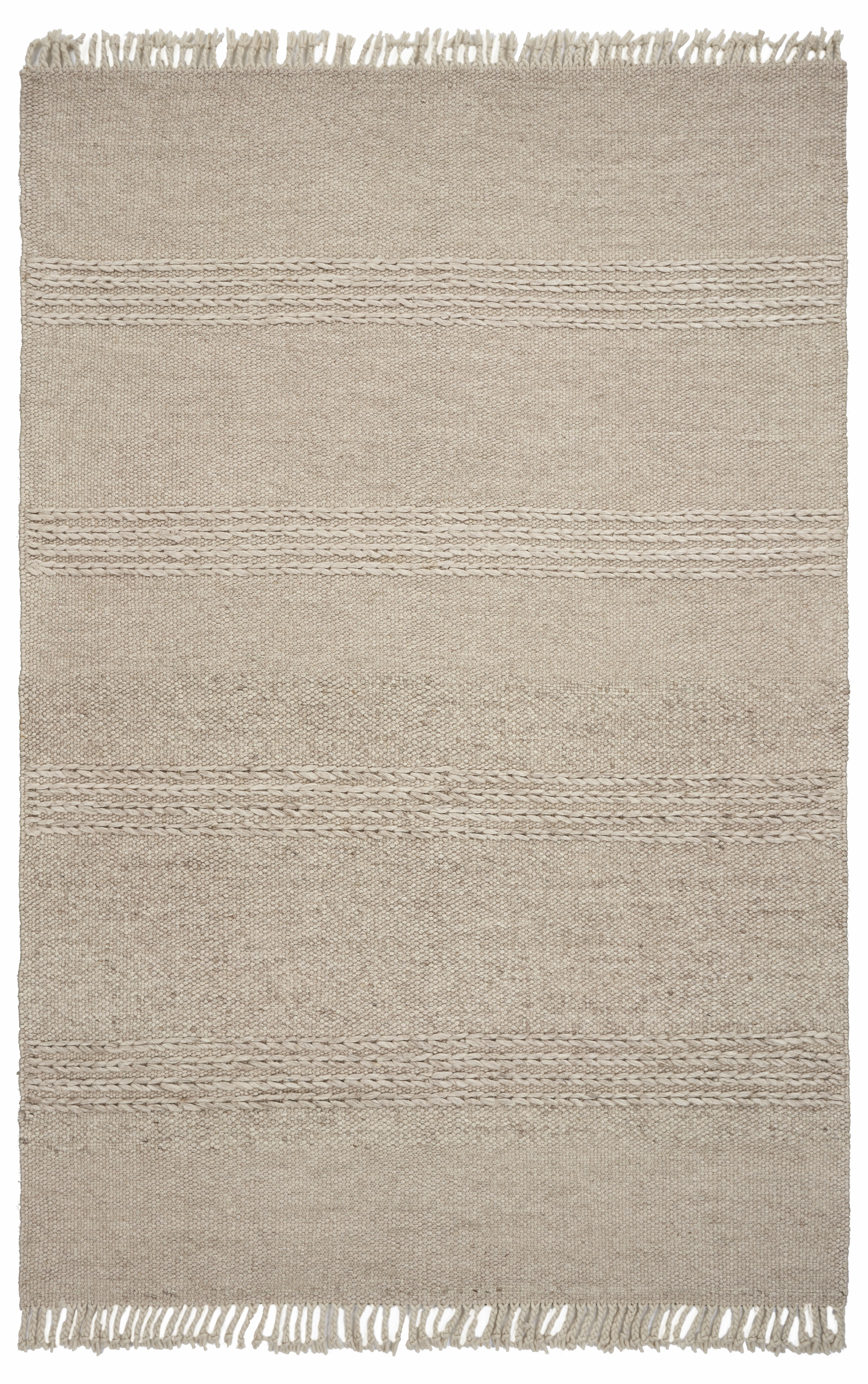 Gracie Oaks Hogan Cable Knit Hand Woven Wool Beige Area Rug Wayfair