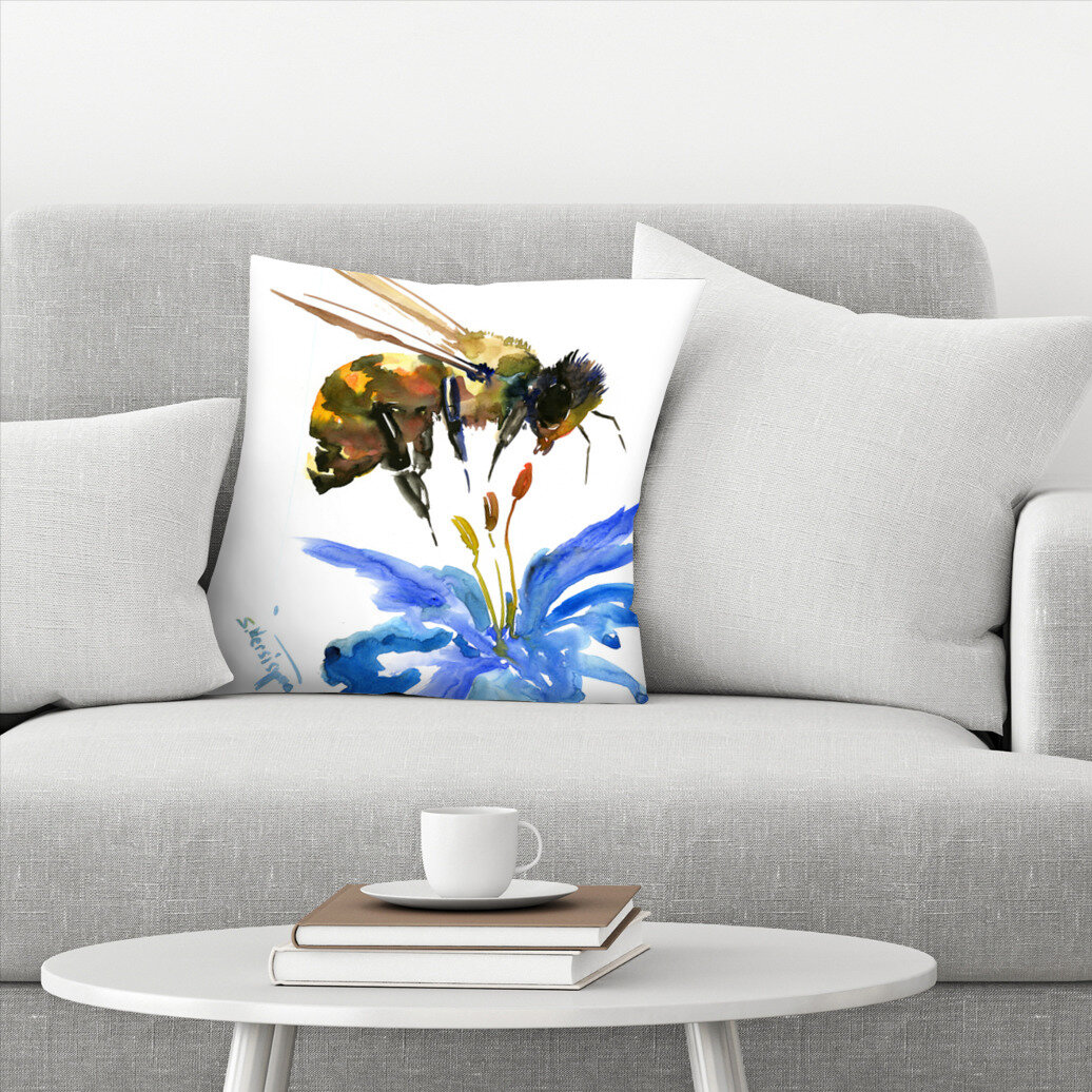 East Urban Home Suren Nersisyan Bee Floral Throw Pillow Wayfair