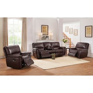 Deverell 3 Piece Leather Reclining Living Room Set by World Menagerie