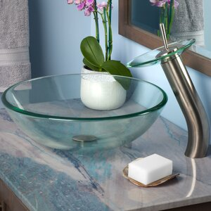 Bonificare Glass Circular Vessel Bathroom Sink with Faucet
