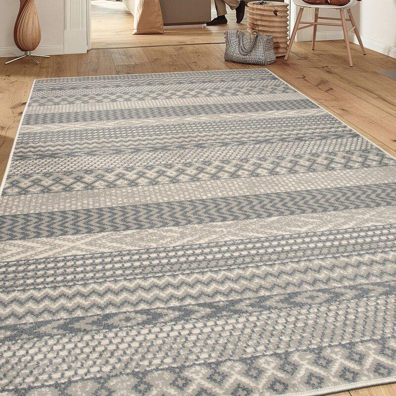 Foundry Select Millbury Casual Power Loom Grey Cream Rug Reviews Wayfair Ca