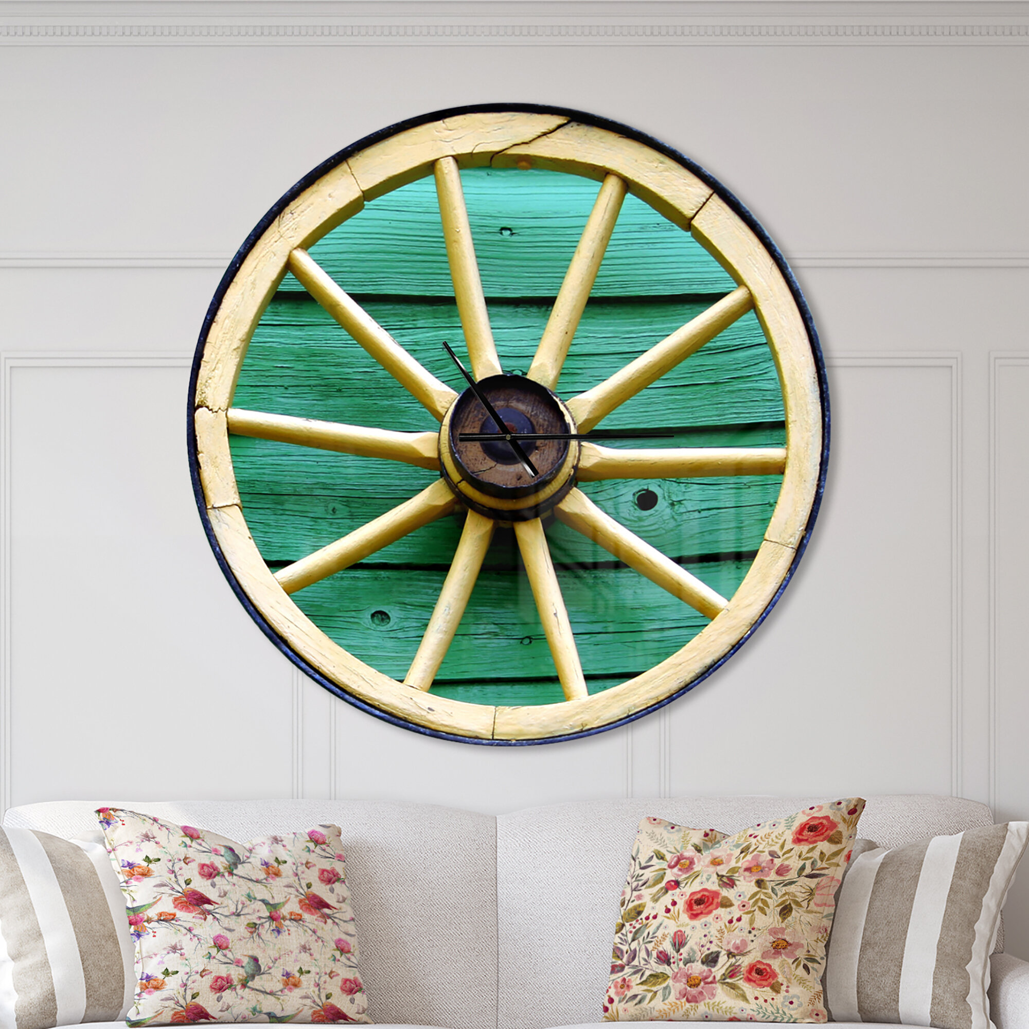 East Urban Home Farmhouse Designart Antique Wagon Wheel On Wood Wall Clock Wayfair