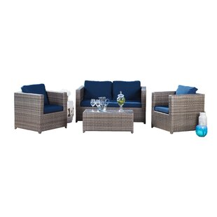 Leithgow 4 Piece Rattan Sofa Set with Cushions