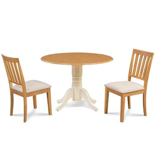 Edgar 3 Piece Drop Leaf Solid Wood Dining Set Millwood Pines
