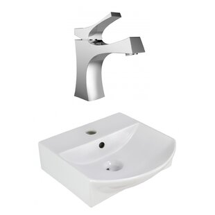 Coupon Ceramic 13.75 Bathroom Sink with Faucet and Overflow ByRoyal Purple Bath Kitchen
