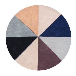 Comparison Kinnard Geometric Hand-Tufted Wool Beige/Black/Blue Area Rug ByLatitude Run