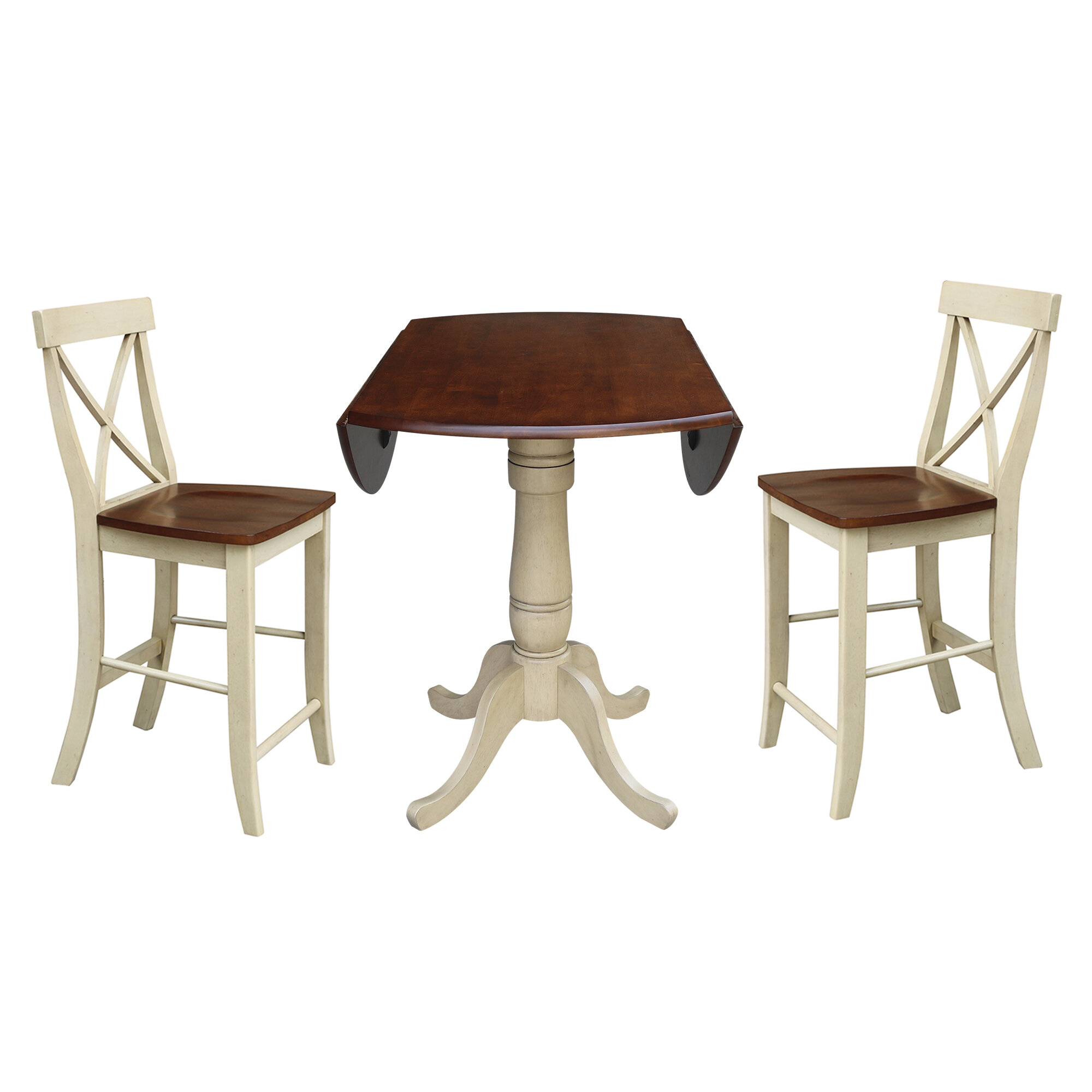 August Grove Spotts 42 Round Top Pedestal Extending 3 Piece Counter Height Drop Leaf Dining Set Wayfair