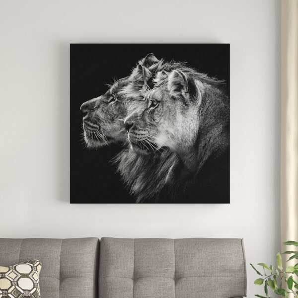"""Perfect for framing! 23""""X18"""" Black /& White Lioness and Cub Print Beautiful"""