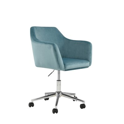 Mcwhorter Antle Upholstered Office Chair Upholstery Color: Ice Blue Velvet by Beachcrest Home