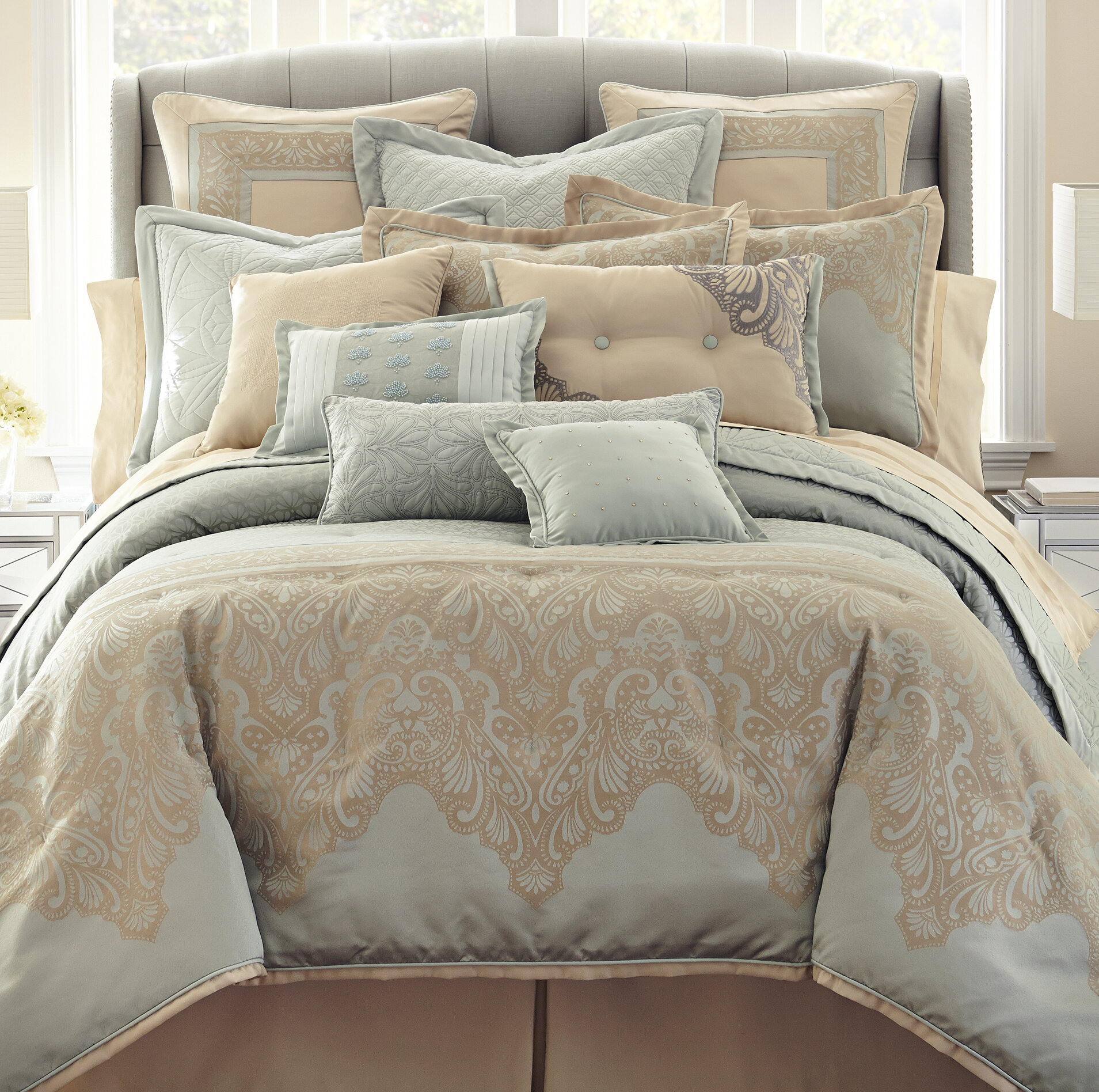 5 Pieces Reversible Diamond Quilted Bedspread Comforter//Throw Bed Set