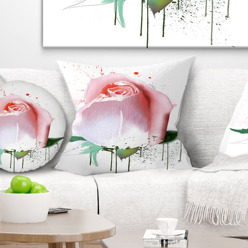 East Urban Home Floral Rose With Paint Splashes Pillow Wayfair