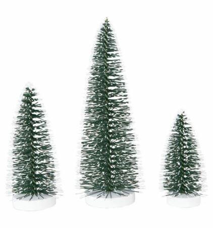 3 Piece Snowy Bottle Brush Pine Christmas Tree Set
