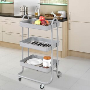Winston Porter Makris 3-Tier Steel Rolling Bar Cart