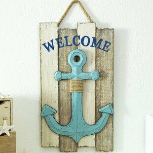 Wooden Nautical Anchor Welcome Wall Décor