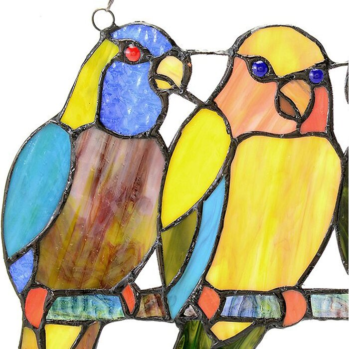 August Grove Tropical Birds Tiffany Style Stained Glass Window