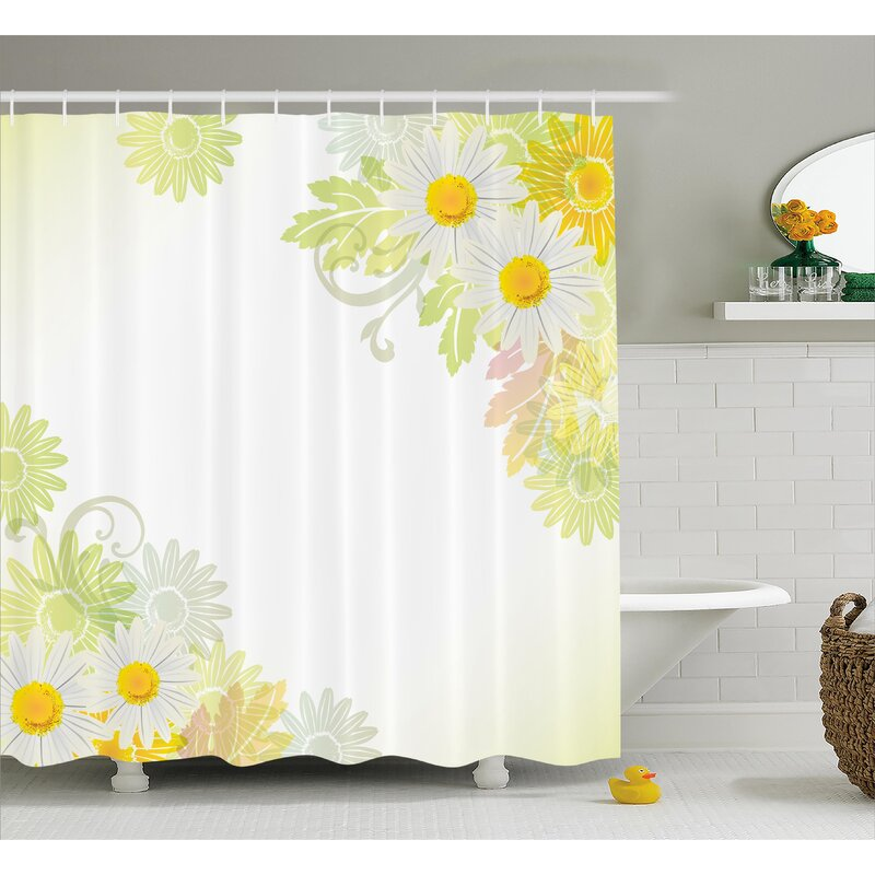 Daisies and Leaves With Sun Single Shower Curtain