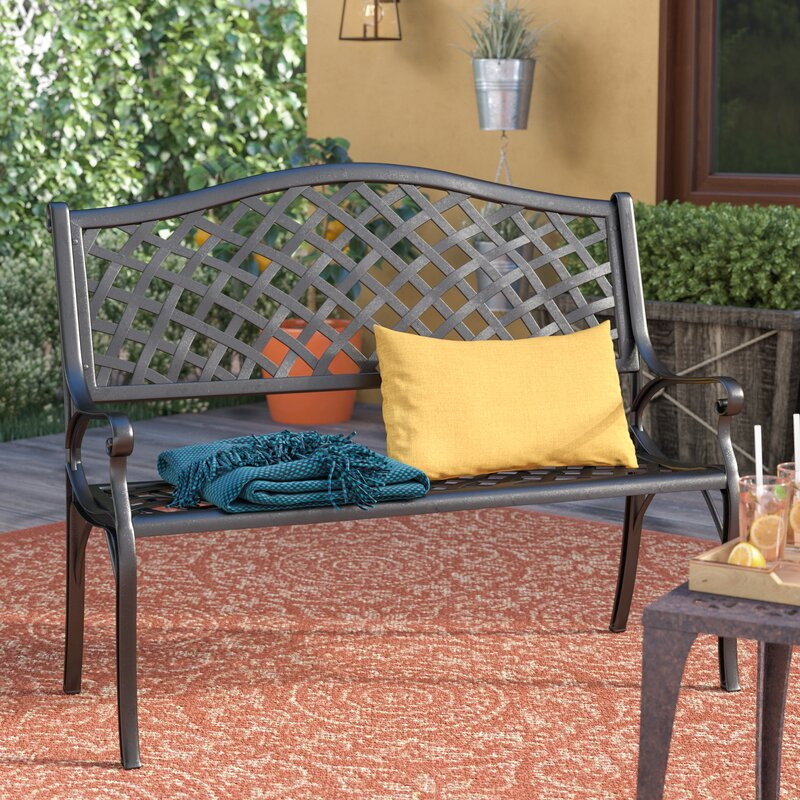 Ismenia Checkered Outdoor Cast Aluminum Patio Garden Bench