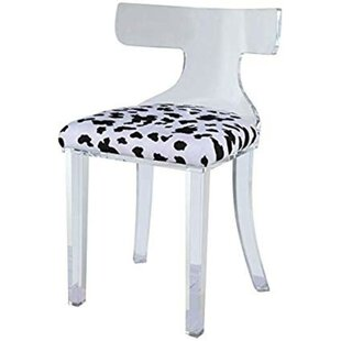 Joetta Spotted Velvet Upholstered Acrylic Frame Side Chair by Everly Quinn