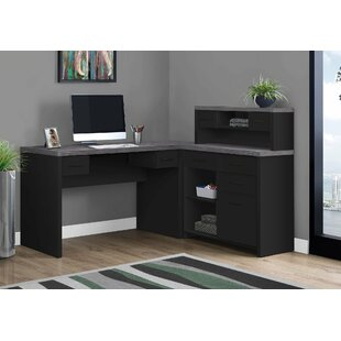 Helen Reversible L-Shape Computer Desk with Hutch
